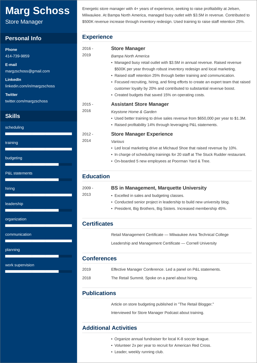 Store Manager Resume Examples And 25 Writing Tips