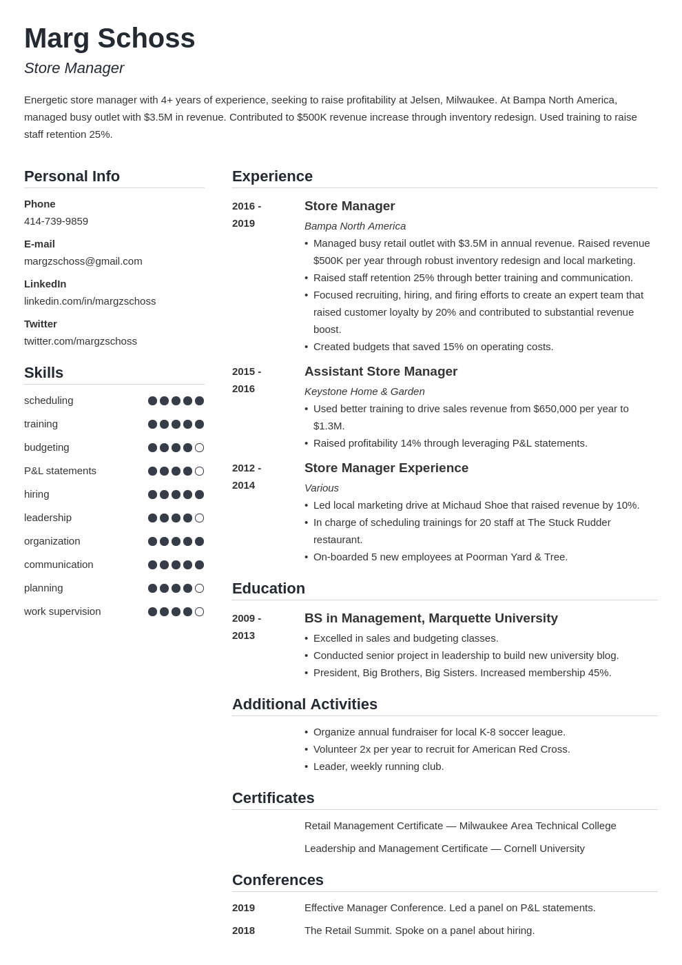 store manager template simple uk