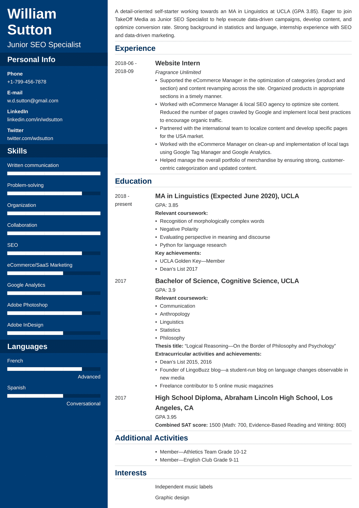 Student Resume Templates Examples For Students In 2021