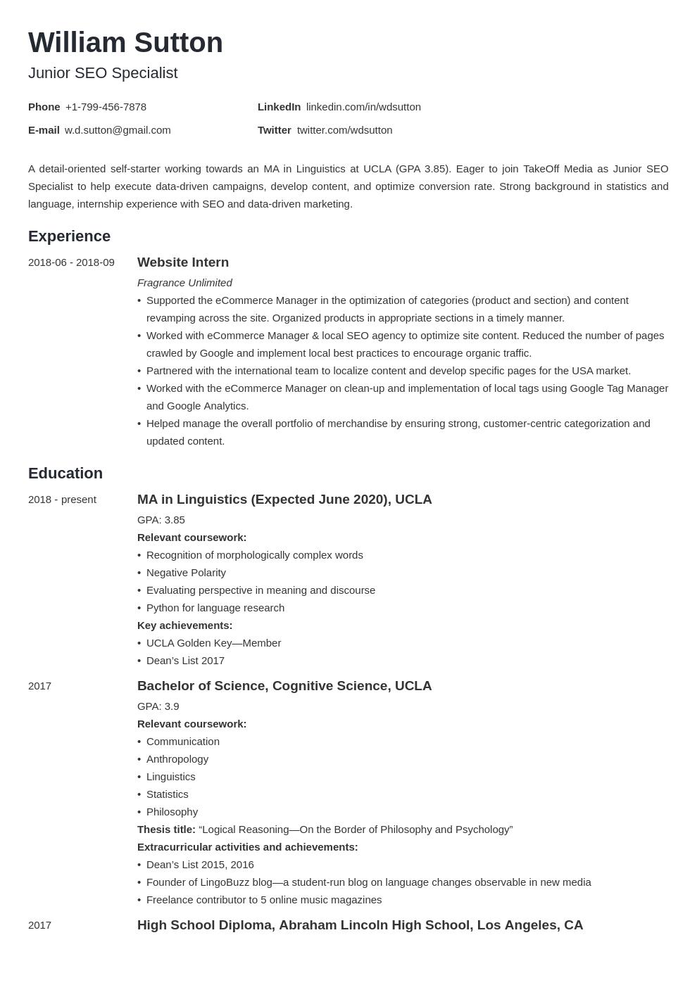 student template minimo uk