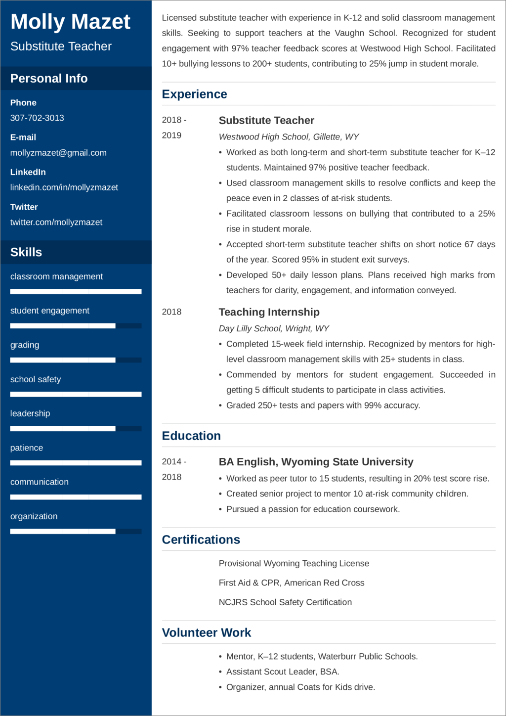 substitute teacher resume templates