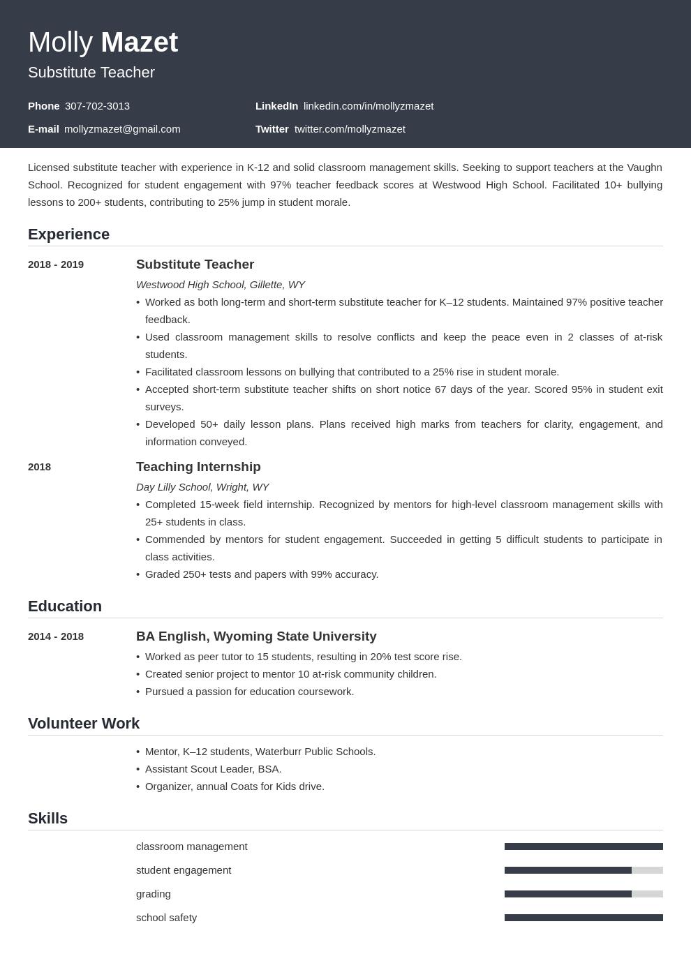 substitute teacher template influx