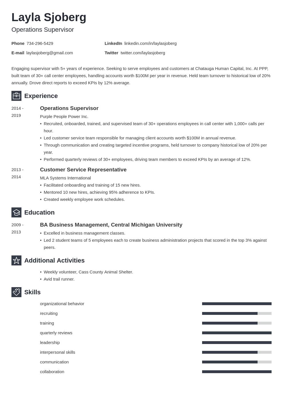 supervisor template newcast