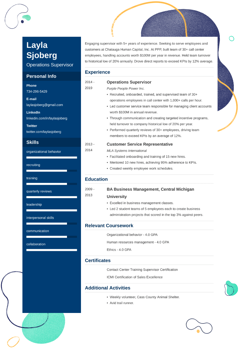 supervisor CV example