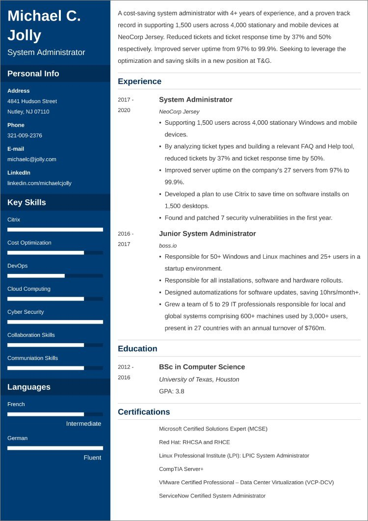System Administrator resume templates