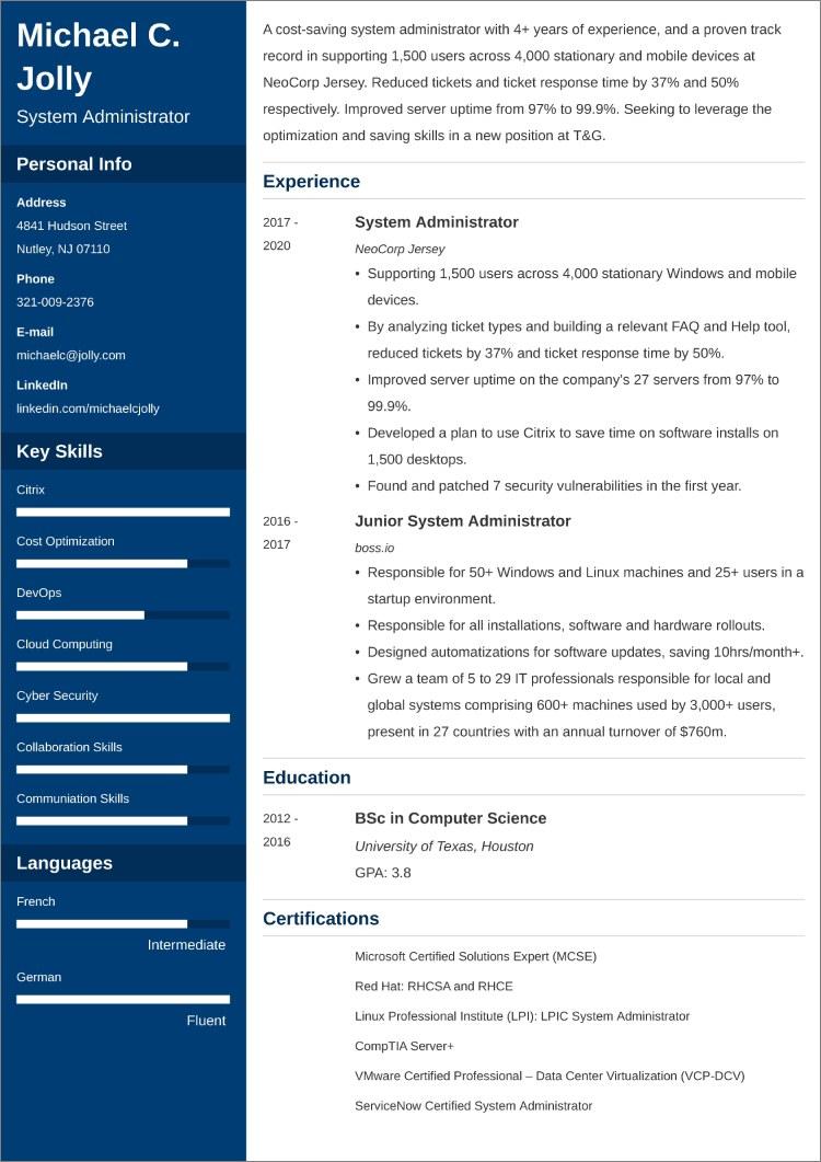 System Administrator CV templates
