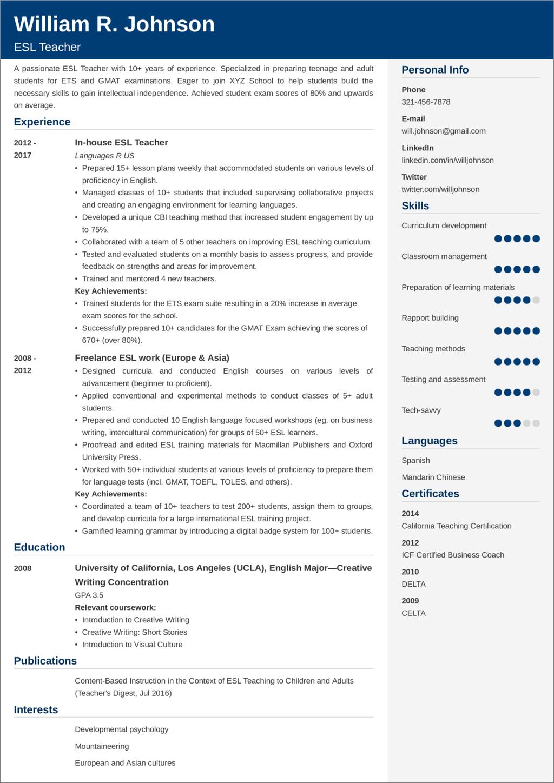 teacher resume example u2014samples and 25  writing tips