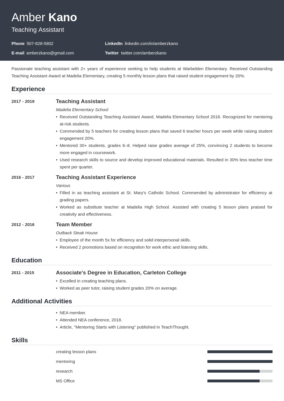 teaching assistant template influx uk