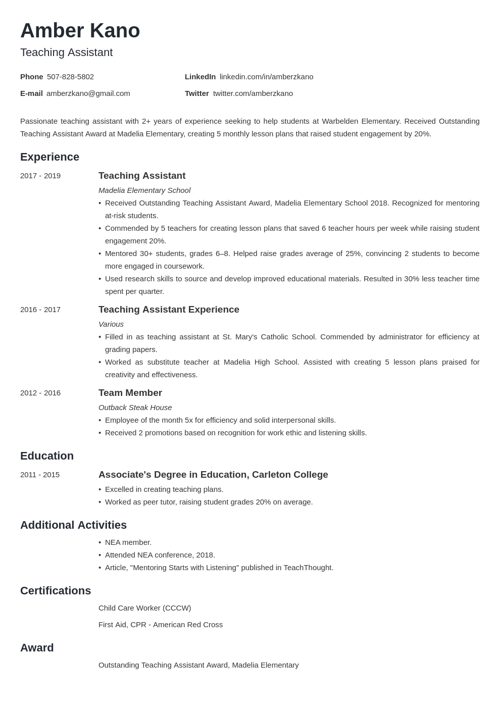 teaching assistant template minimo uk