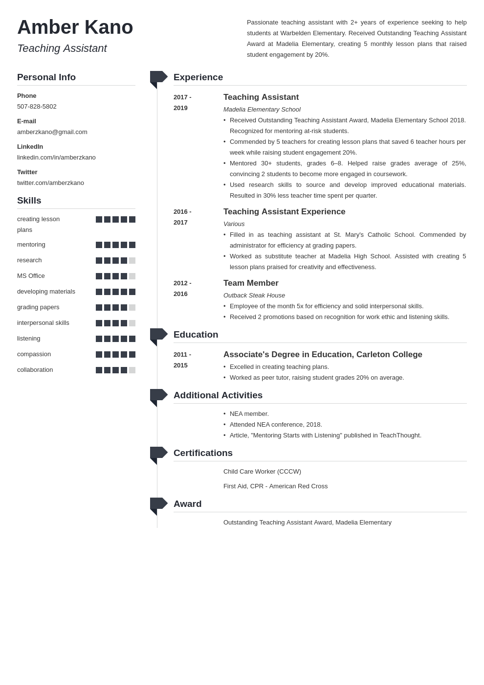 teaching assistant template muse