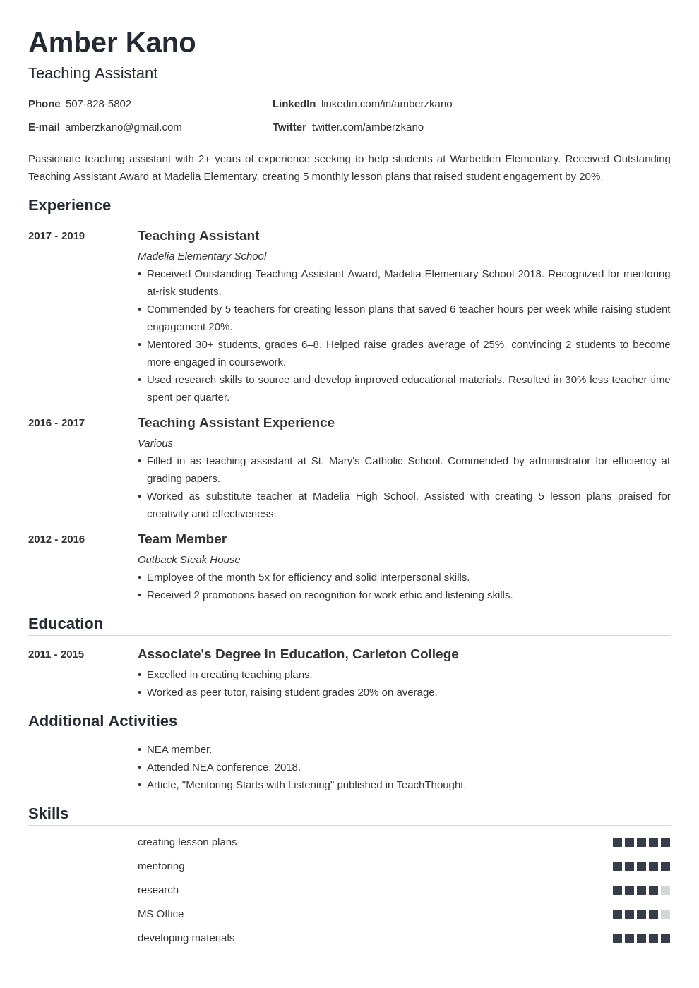 teaching assistant template nanica