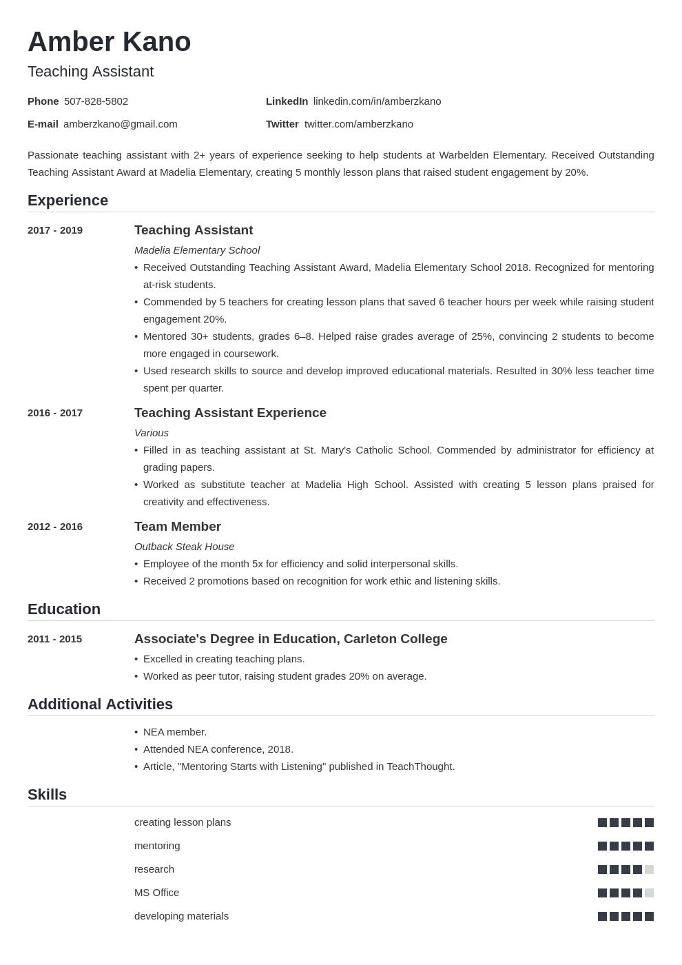 teaching assistant template nanica uk