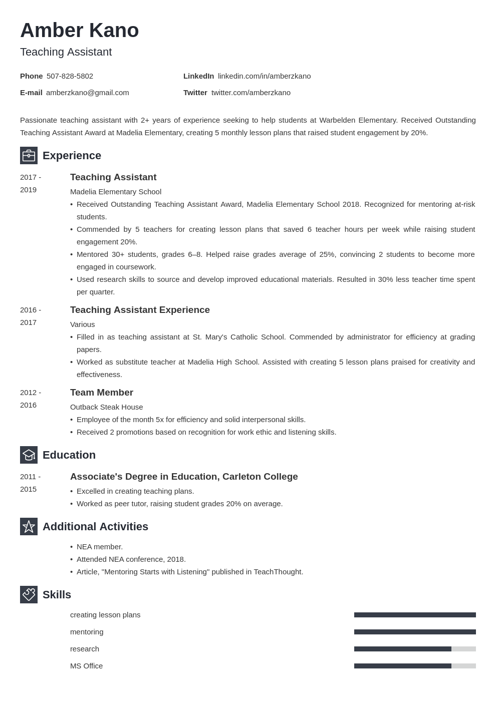 teaching assistant template newcast uk