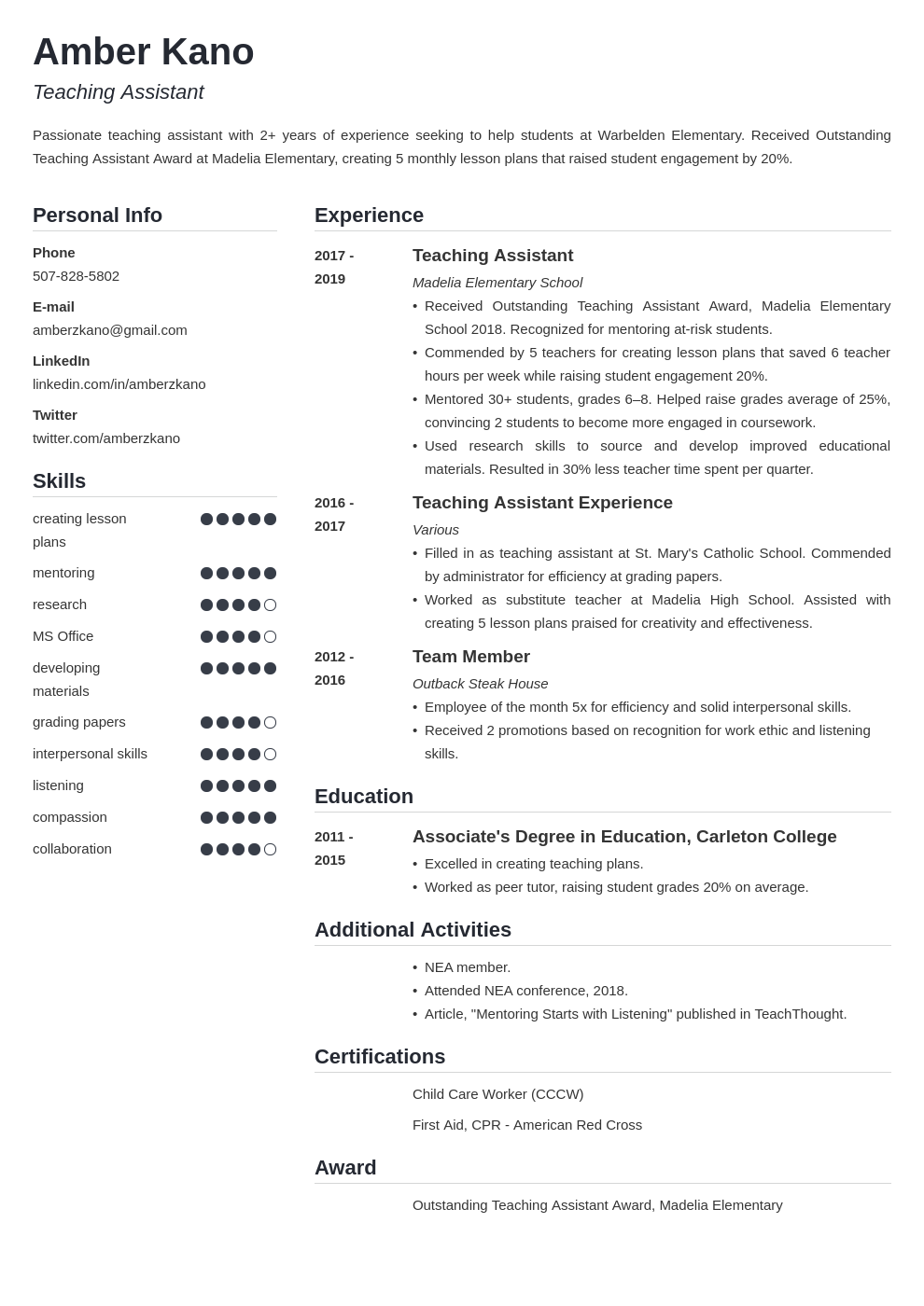 teaching assistant template simple uk