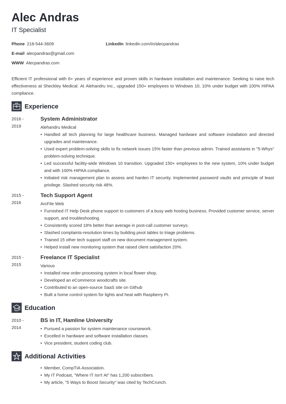 Technical Resume Examples Guide Template And 20 Writing Tips