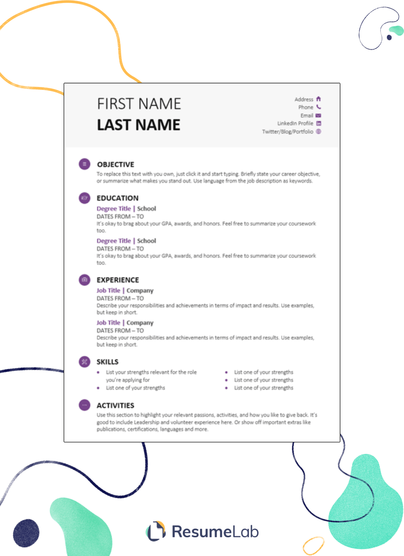 Resume Templates For Google Docs 25 Examples Including Free
