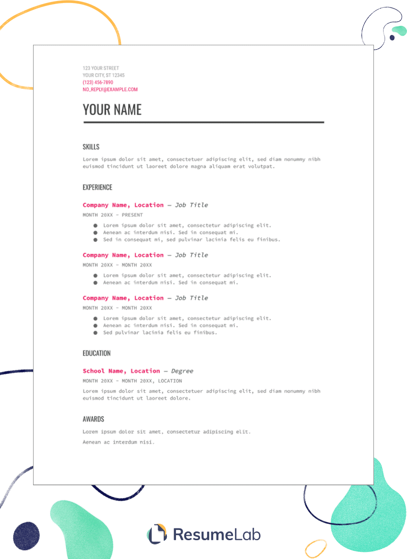 resume templates for google docs  25  examples  including