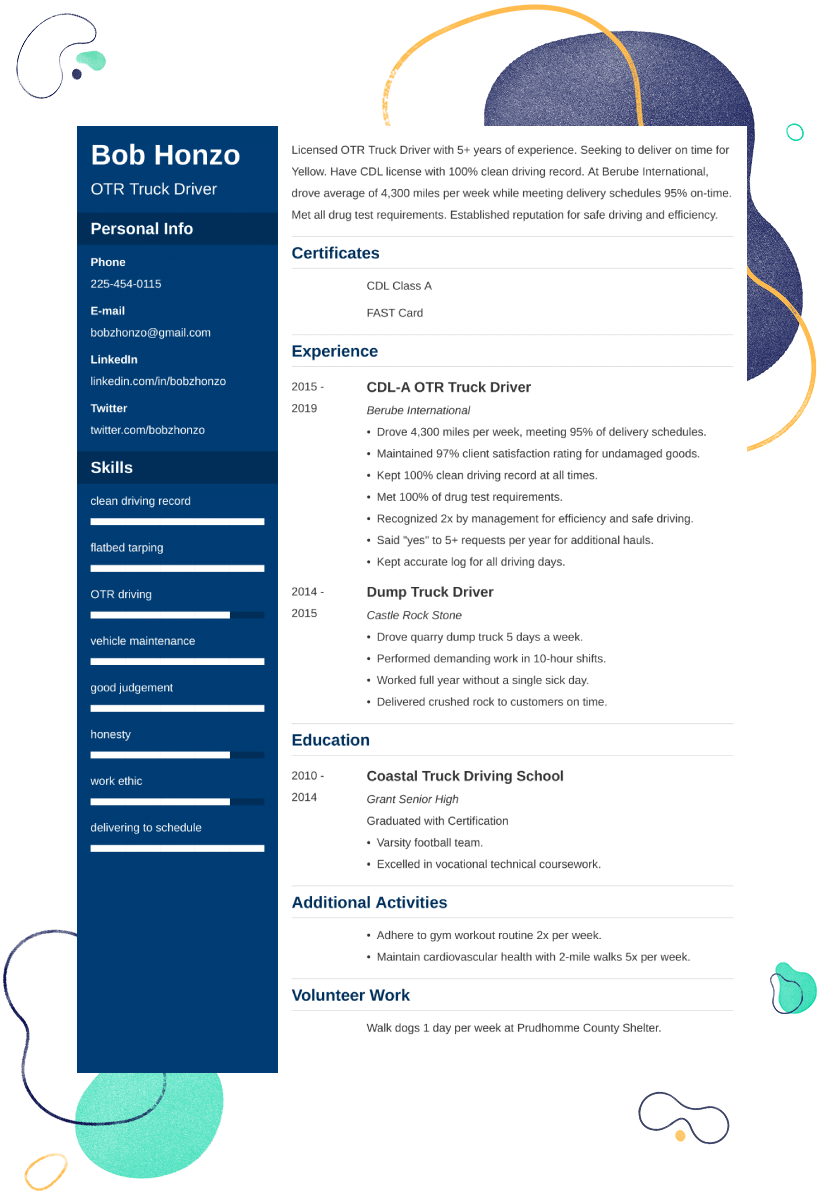 truck driver resume example