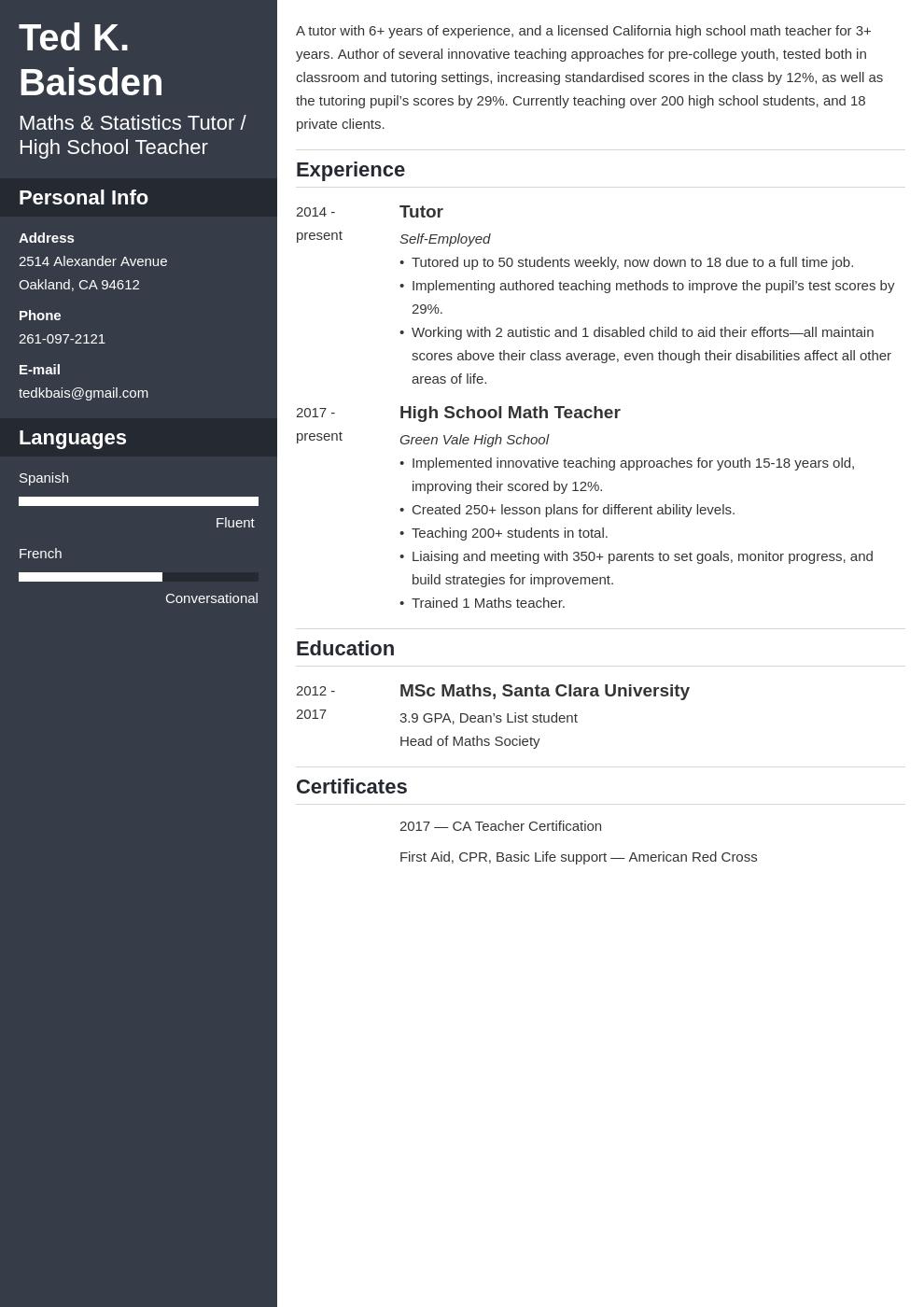 tutor template cascade uk