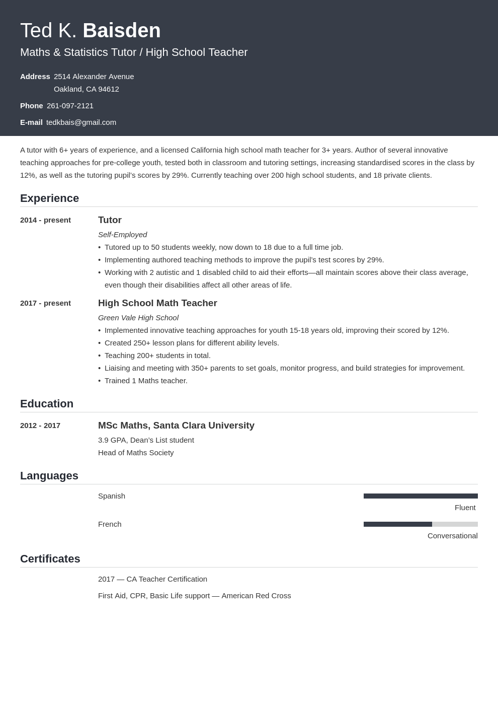 tutor template influx uk