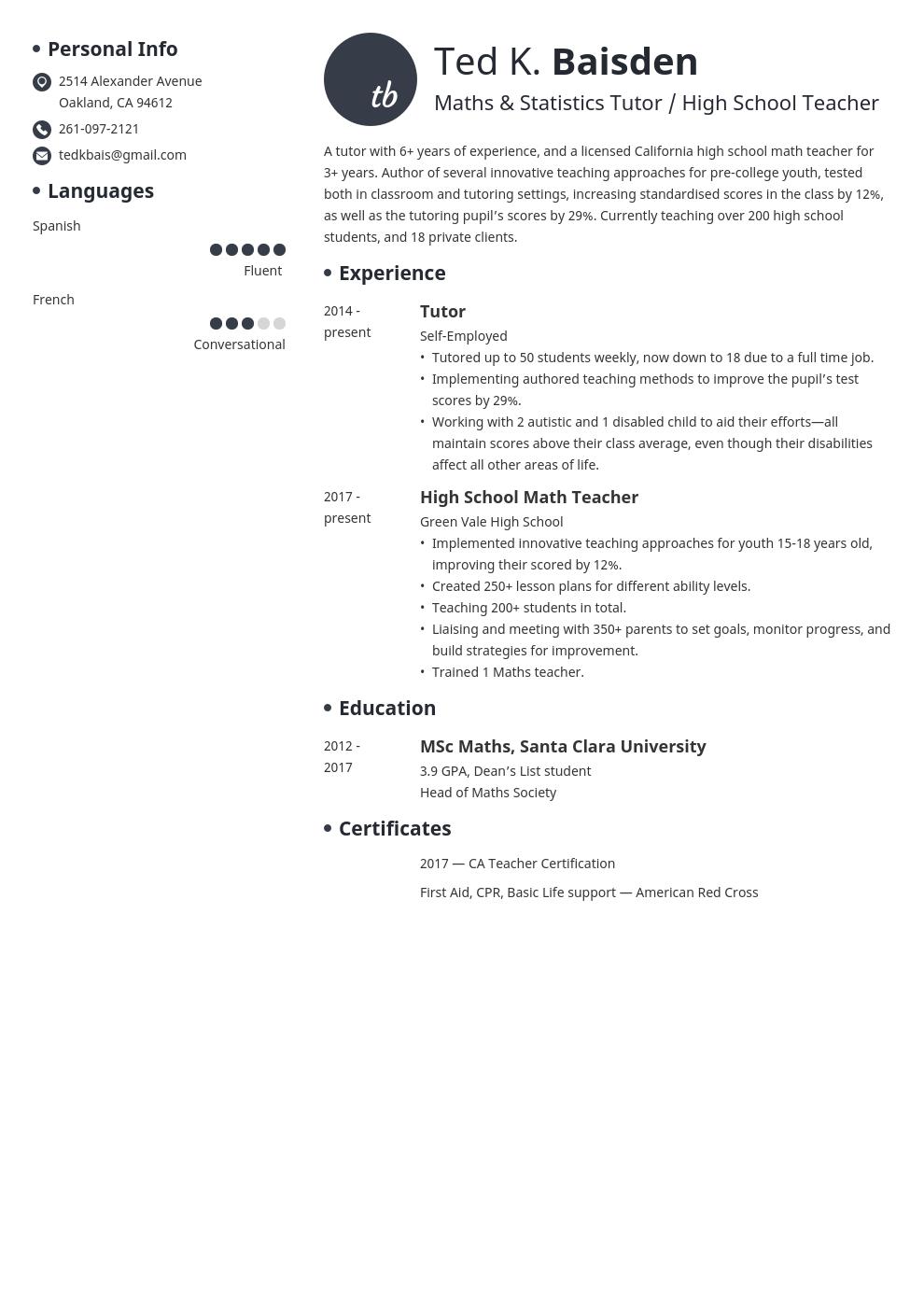 tutor template initials uk