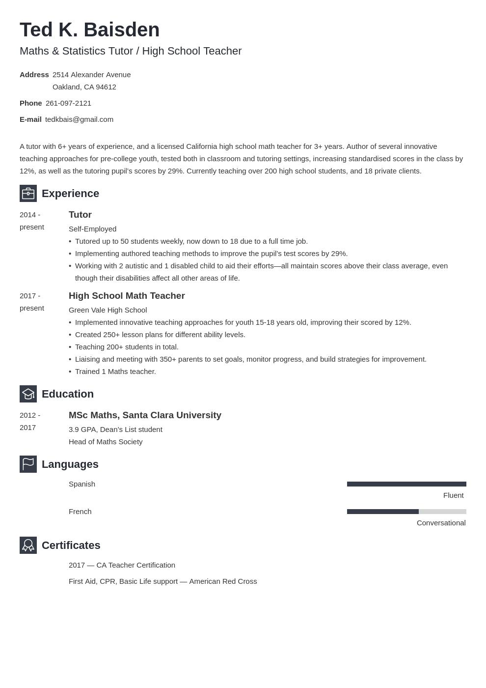 tutor template newcast uk