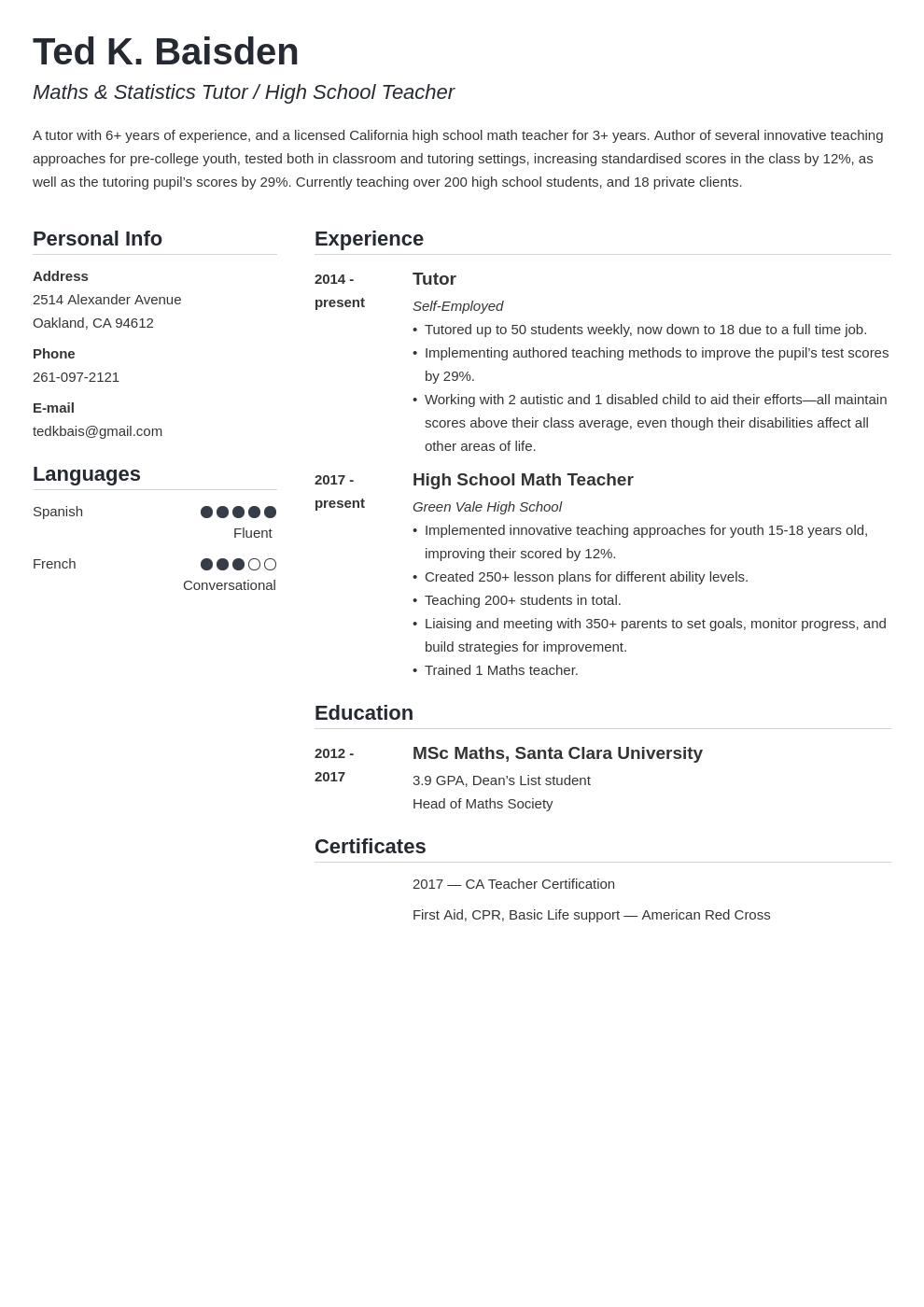 tutor template simple uk