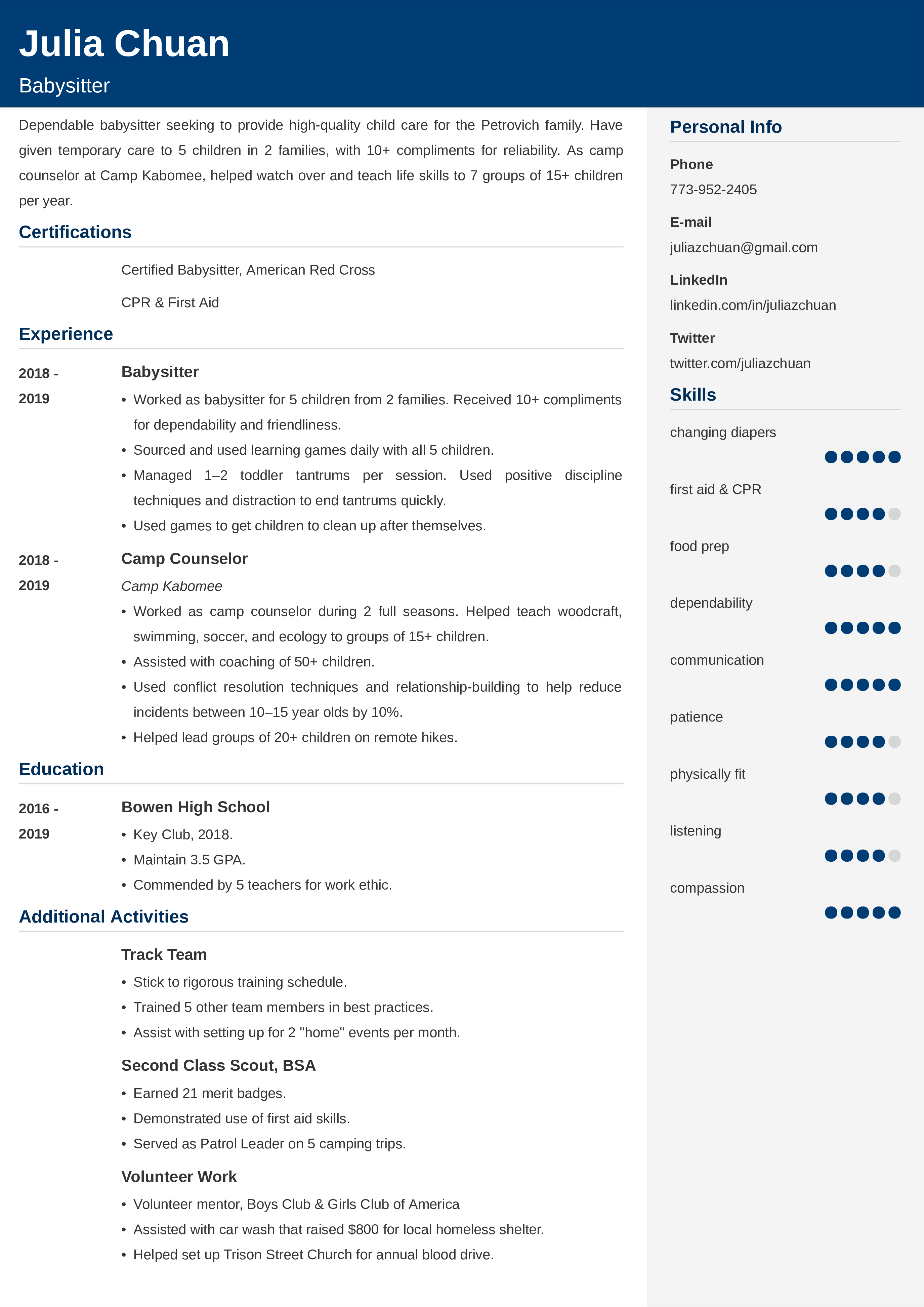 sample CV templates
