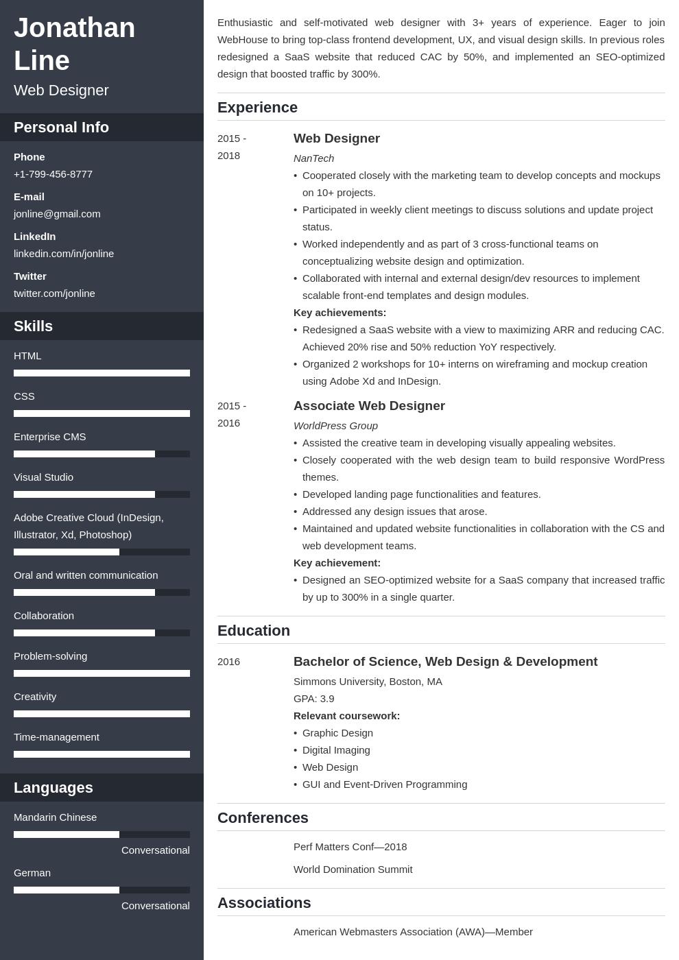 web designer template cascade