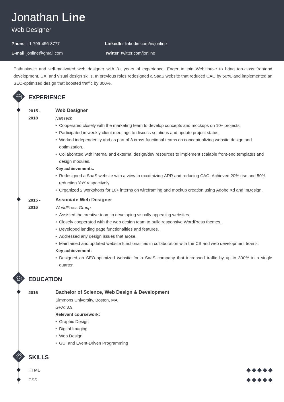 web designer template diamond