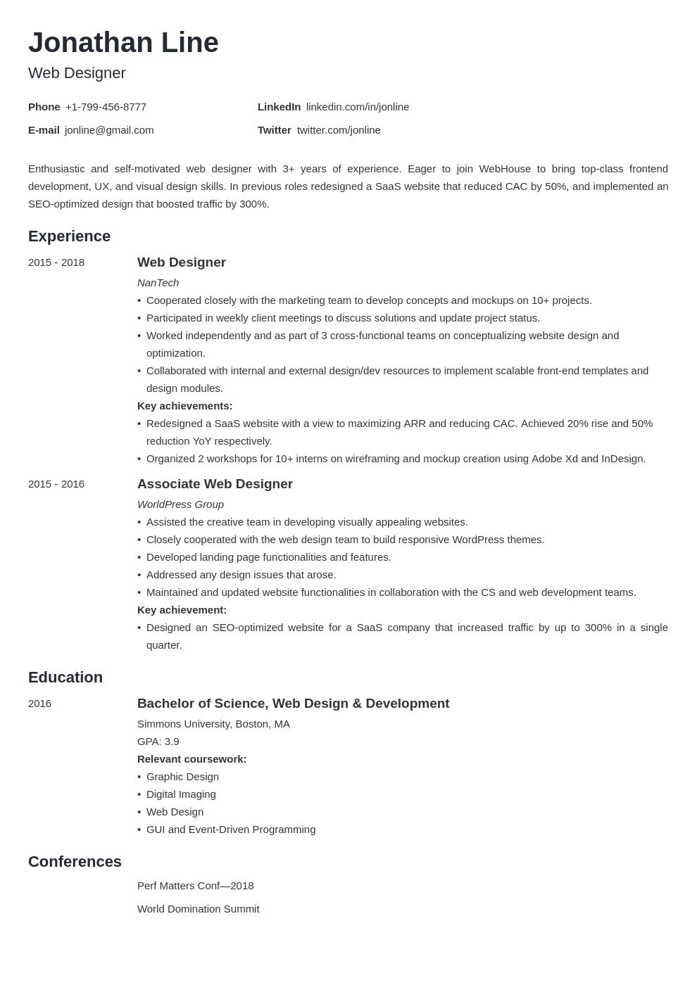 web designer template minimo