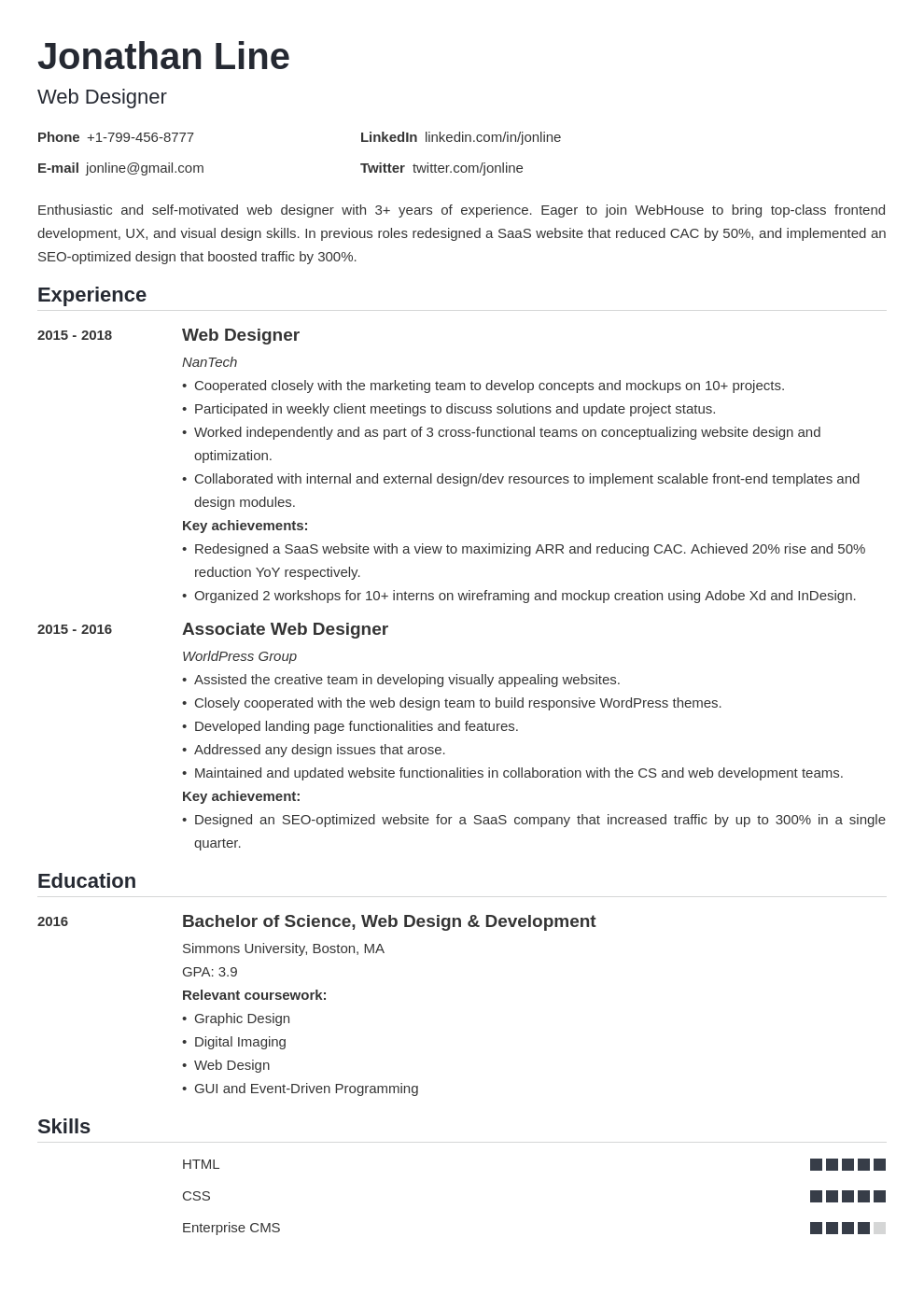 web designer template nanica