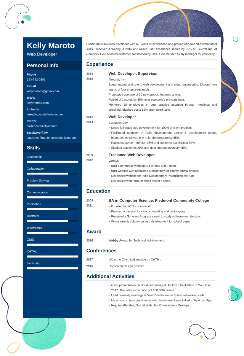 Web Developer Resume Example—Samples and 20+ Writing Tips