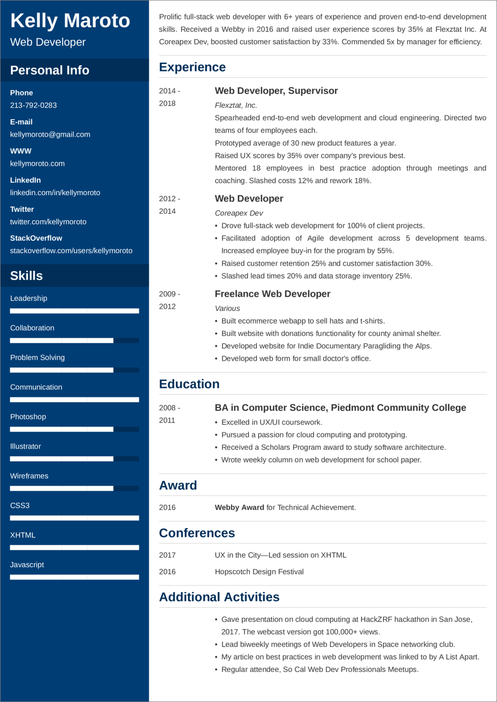 Web Developer Resume Example Samples And 20 Writing Tips