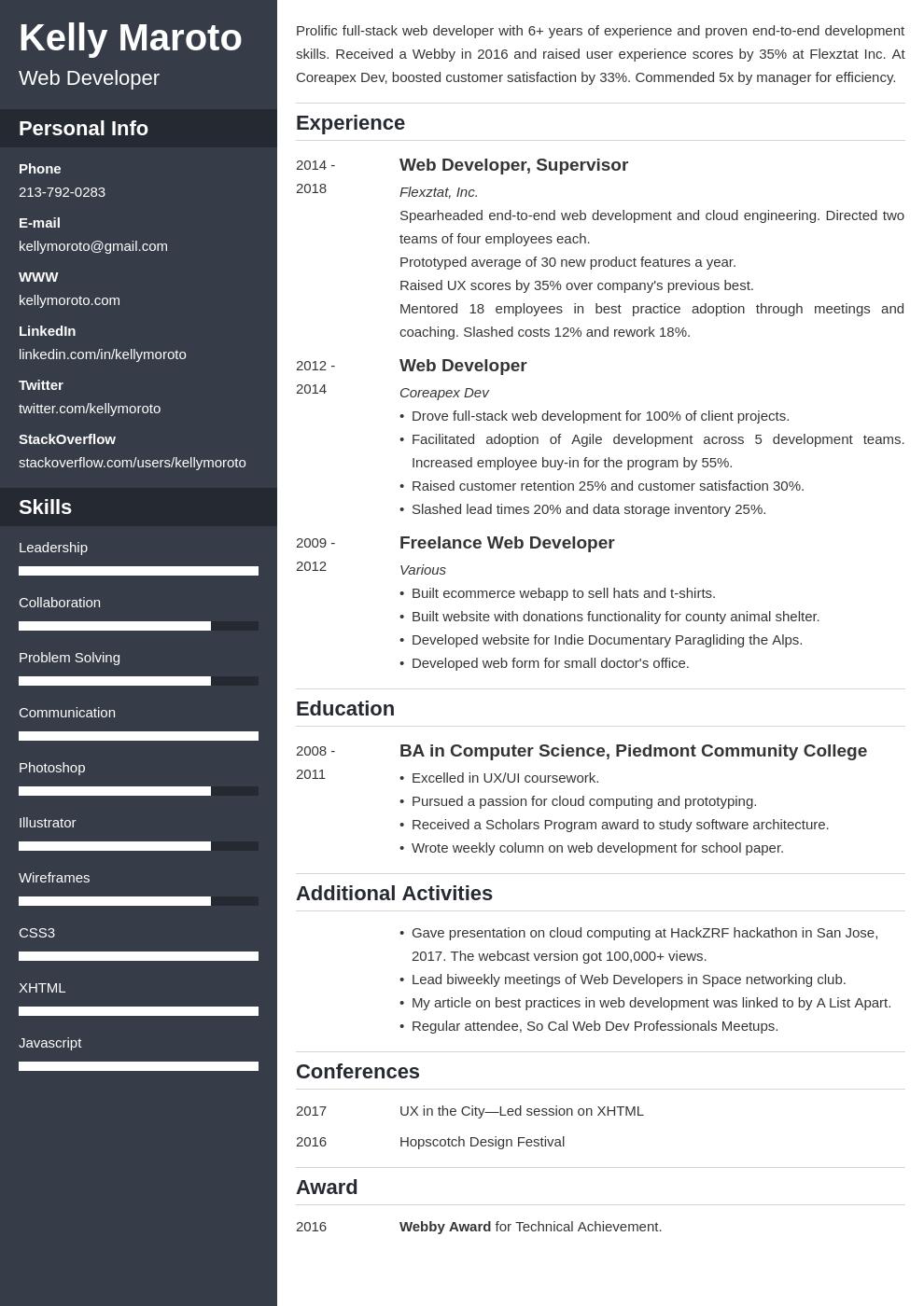 web developer template cascade