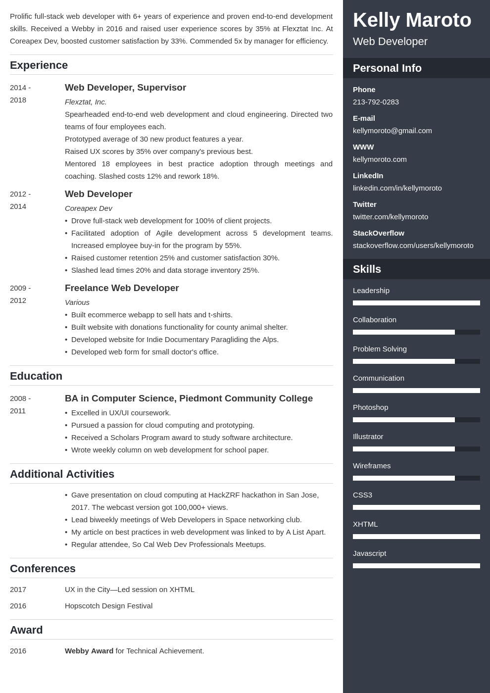web developer template enfold