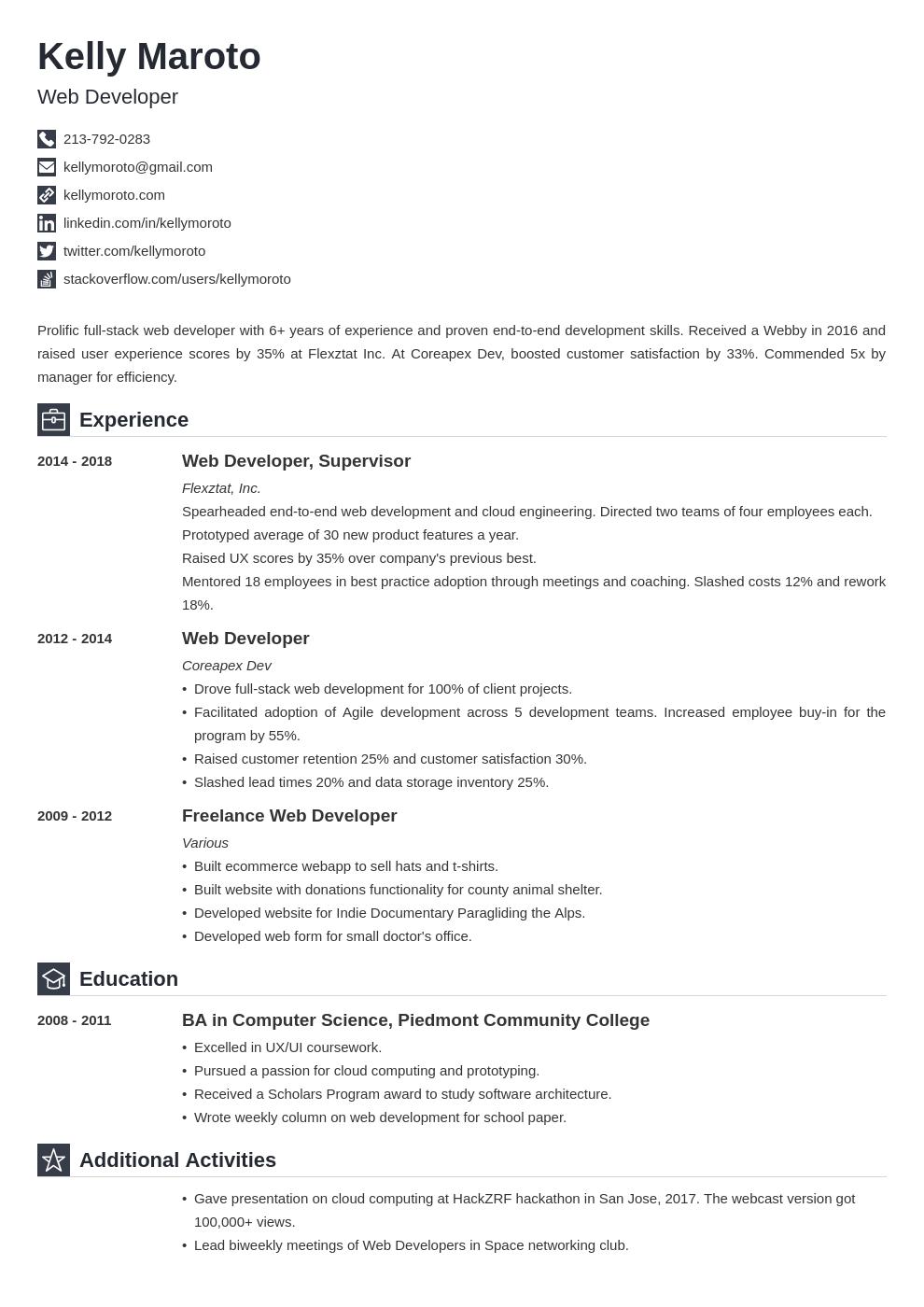web developer template iconic