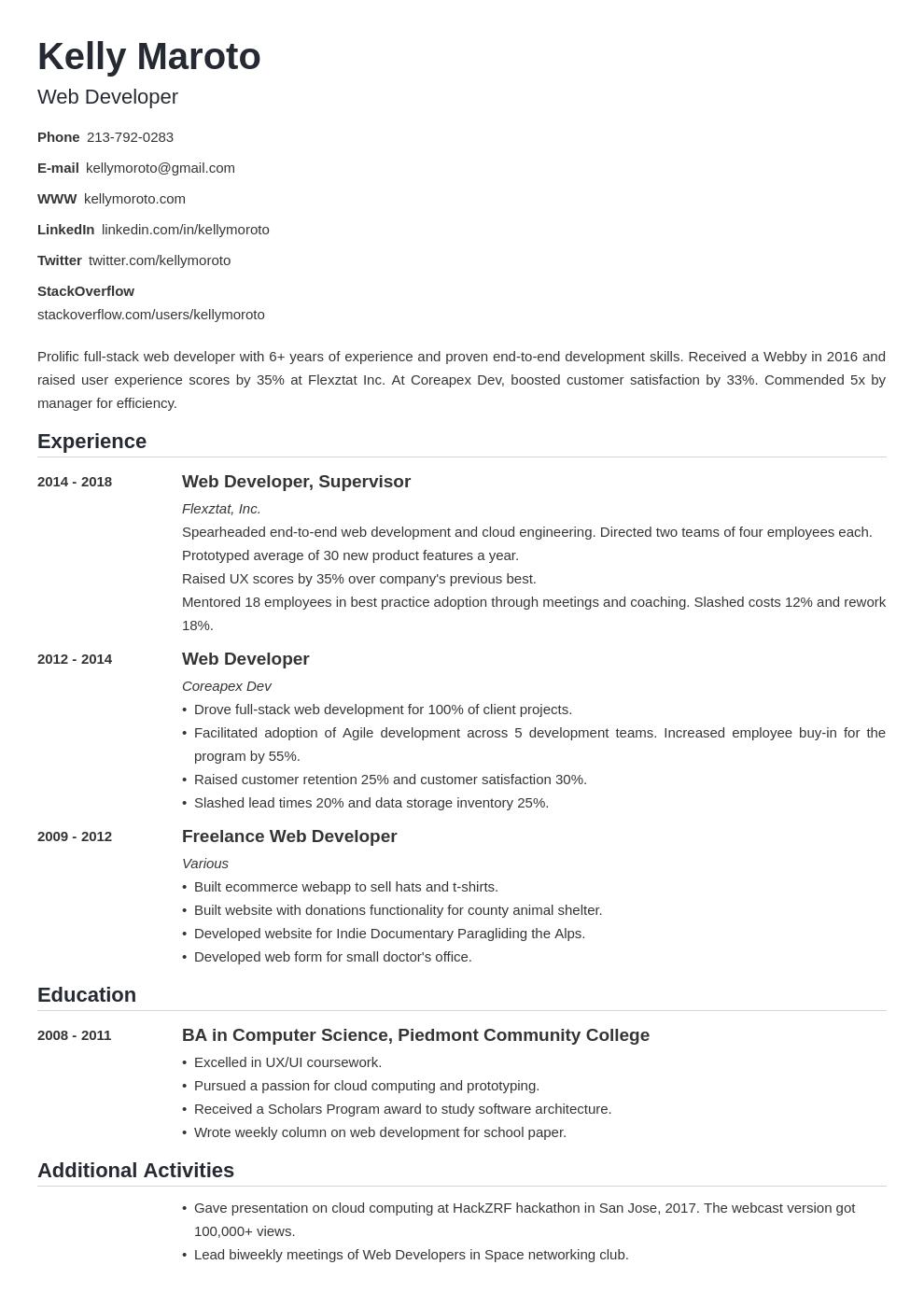 web developer template nanica uk