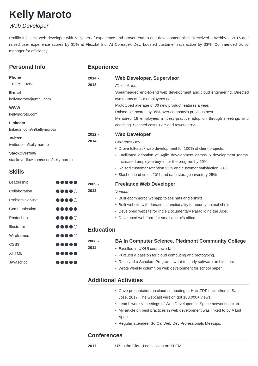 web developer template simple uk
