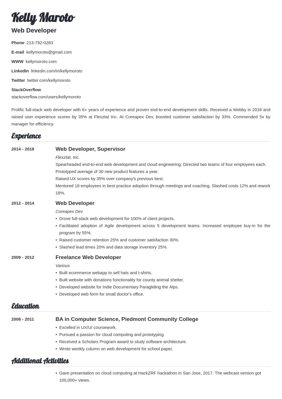 web developer template valera uk