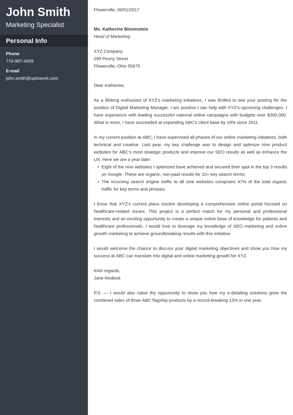 Professional cover letter Template Cascade