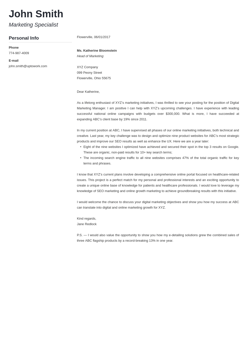 Professional cover letter Template Modern